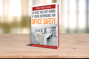 office safety guide book over on shelf