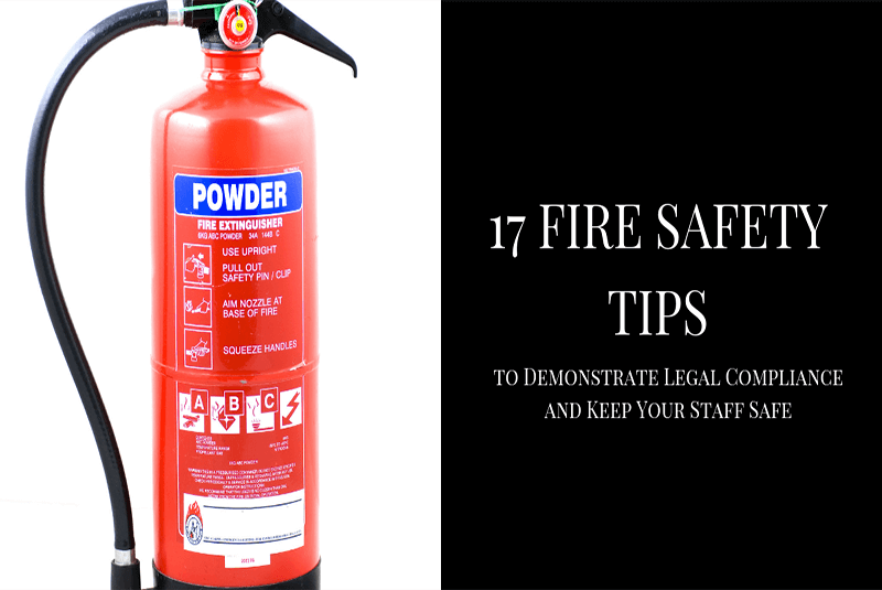 fire extinguisher on image demonstrating 17 fire safety tips