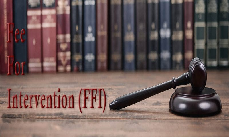 law books on table with fee for intervention (ffi)