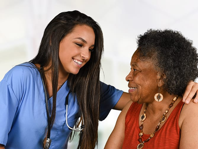 care and elderly smiling